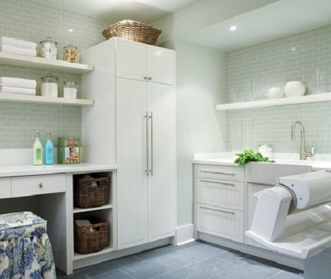 White Laundry Room Storage Cabinets