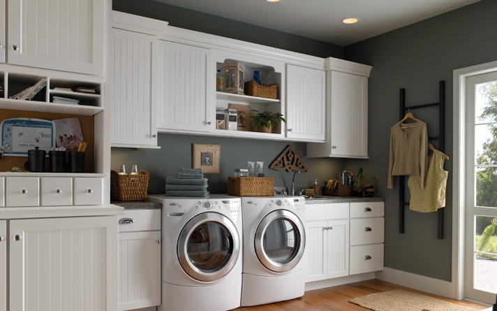 White Laundry Rooom Storage Cabinets With Gray Painting Color