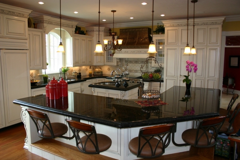 Amazing Black Quartz Countertops For Eccentric Curvy Kitchen Island Bar With Floating Stools  Photos
