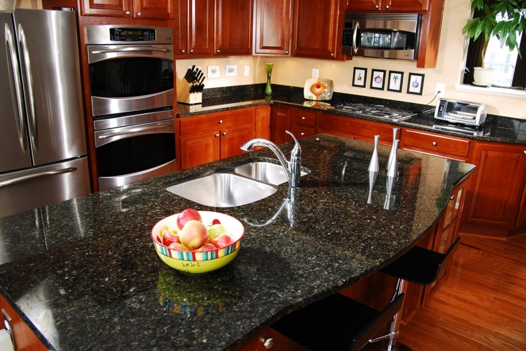 Amazing Blue Pearl Granite Countertop With Luxury Kitchen And Brown Cabinets Interior Design Pictures