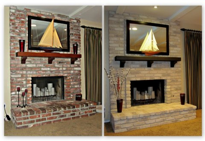Amazing painted brick homes before and after fireplace for How to paint my house interior