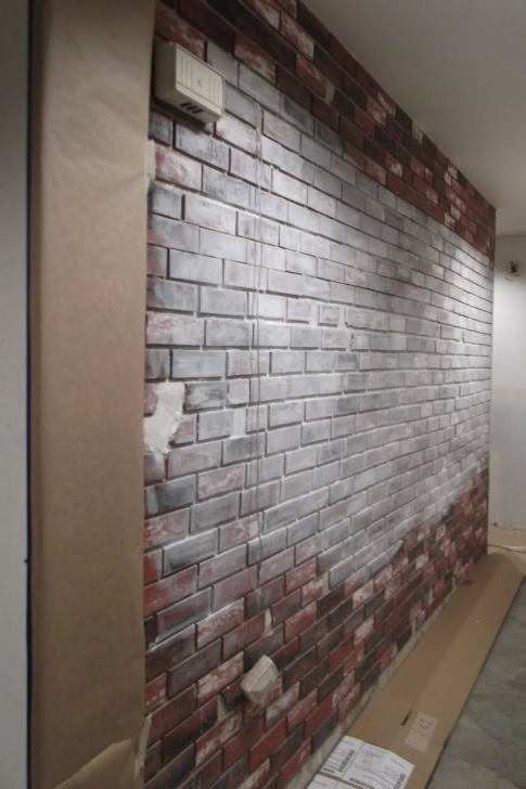 Amazing Painted Brick Homes Decoration Ideas Using Aged Dark Brown Painting Faux Bricks Pic