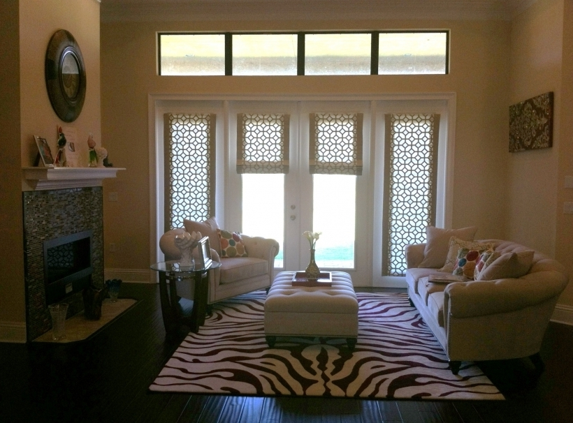 Amazing Sidelight Blinds And Custom Roman Shades On French Doors Images