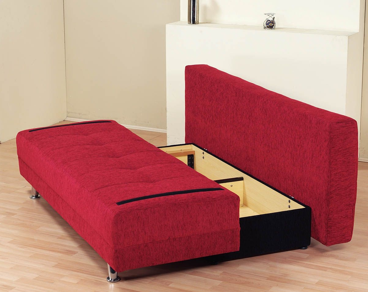 Amazing sofa sleeper with storage within red sofa beds for Red sofa ideas