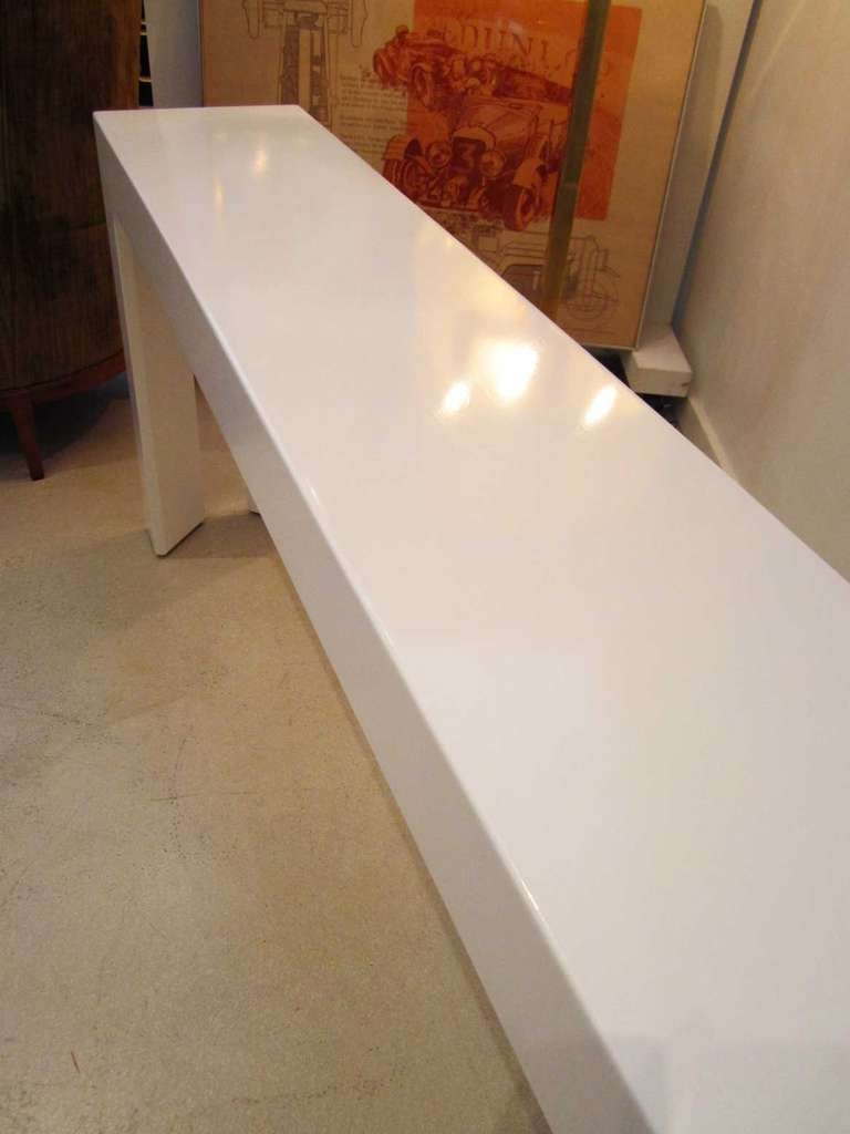 Amazing White Lacquer Console Table Regarding White Lacquered Mid Century Modern Skinny Console Table Pictures