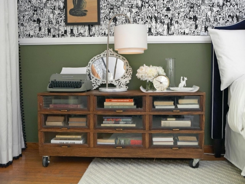 Attractive Nightstand Bookshelf Rolling Doubles For Guest Bedroom Pic