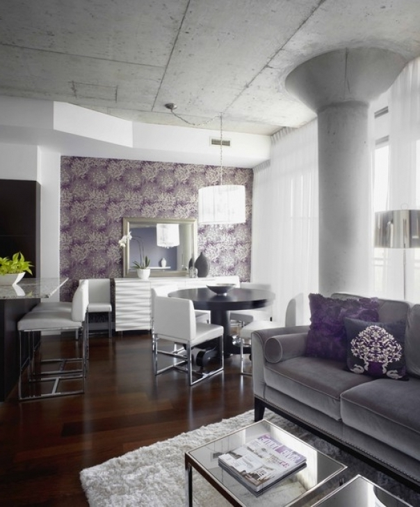 Attractive Purple, Grey And White Living Room Color Ideas With Grey Furniture Images