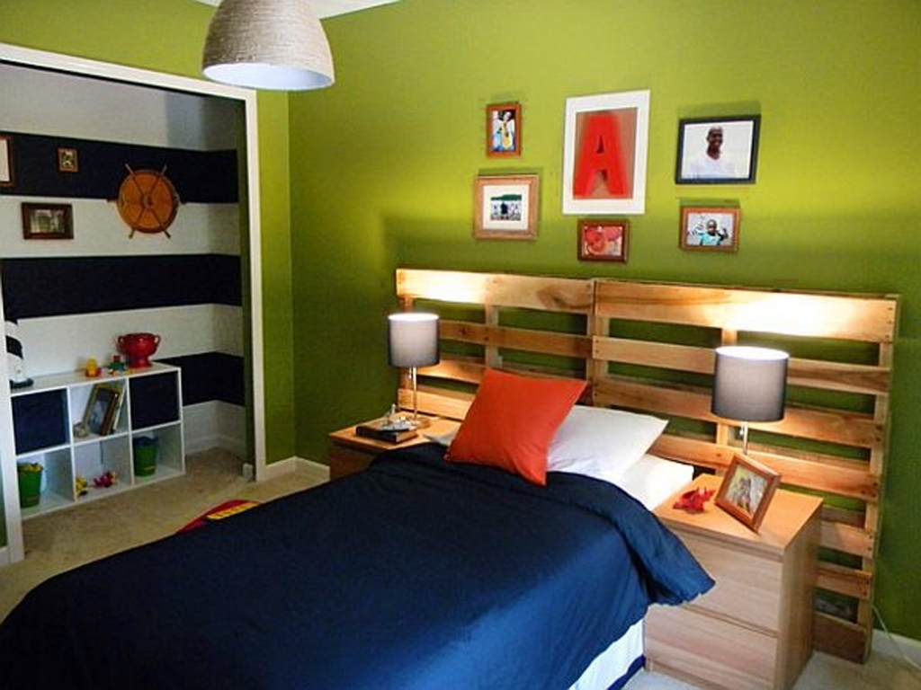 Awesome Wood Headboard Designs Combine With Bright Green Wall Ideas For Boys Bedroom Photos