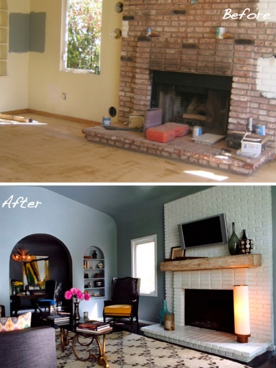 Classy Before And After Painted Brick Homes Fireplace Decor Photos