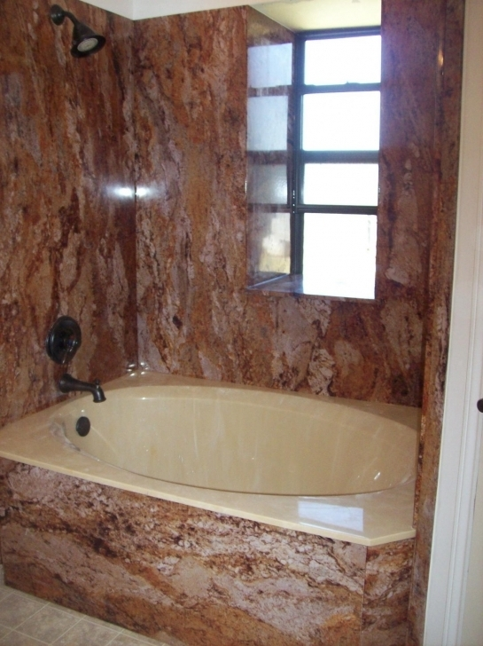 Cosy Cultured Marble Showers With Window Ledge, Bathtub And Tile Flooring Pic
