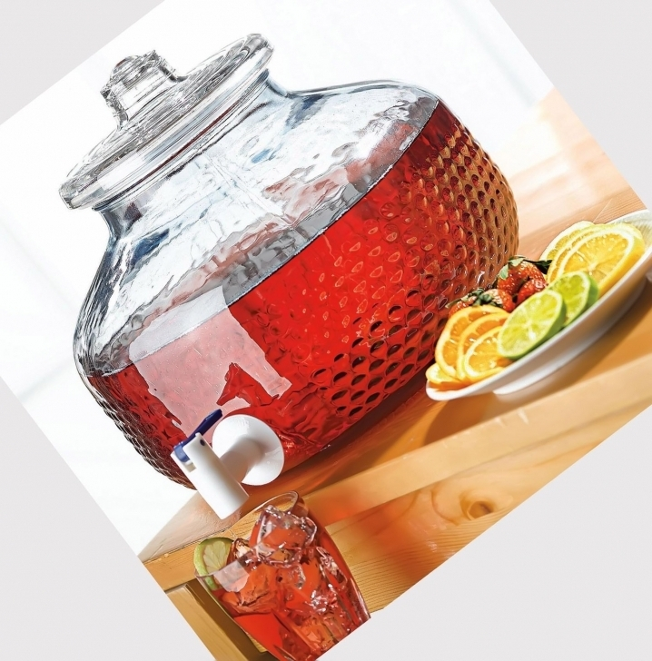 Cozy Glass Drinks Dispenser  With Spigot Drinks Food Images