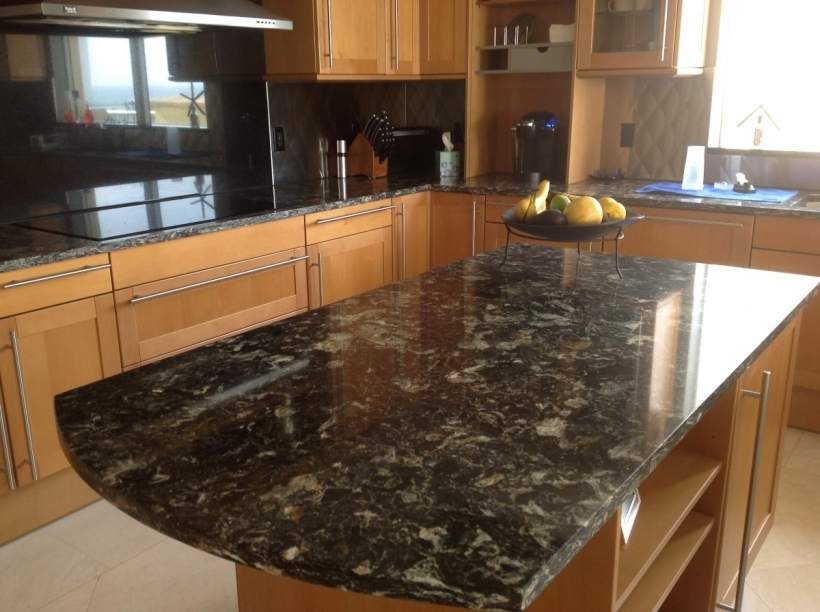Excellent Black Quartz Countertops Combining Traditional Wooden Cabinet Furniture Pic