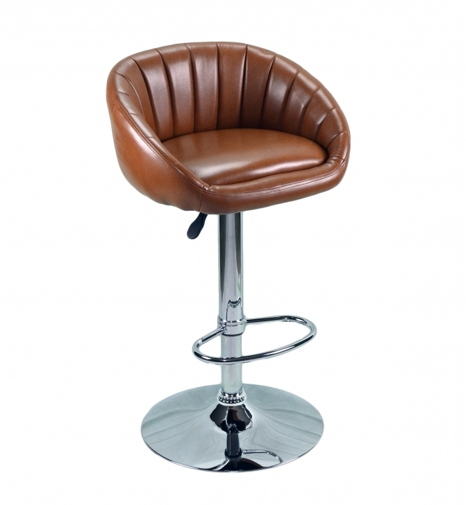 Extraordinary High End Bar Stools Brown Leather With Back And Silver Steel Images