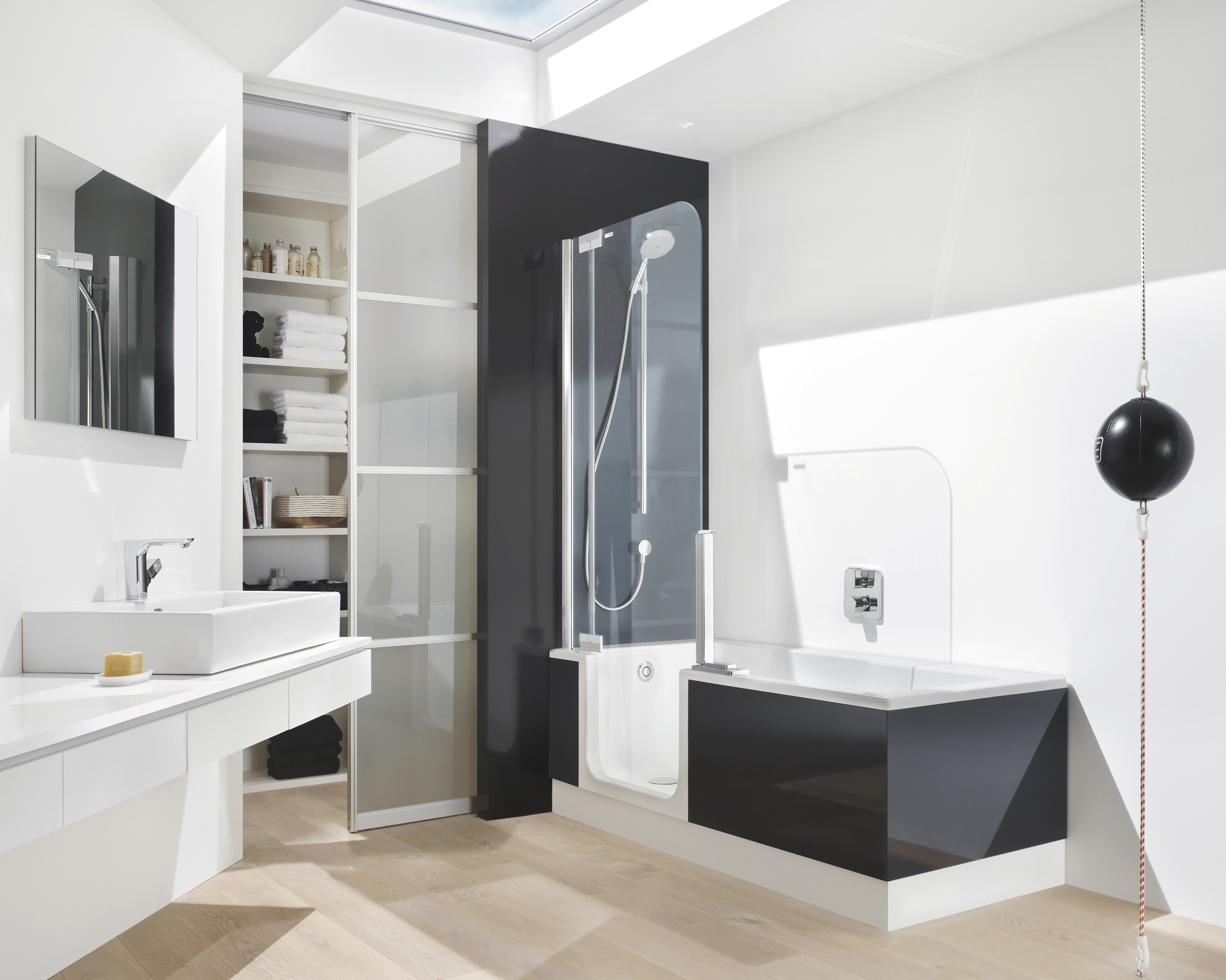 Extraordinary Sliding Closet Doors With Glass Divider And Modern Walk In Shower Black For White Bathroom Decor Pertaining To Black Closet Doors