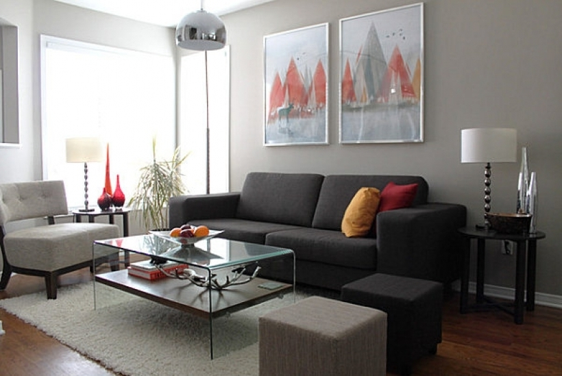 Fantastic Grey Interior Color Scheme Living Room With Gray Sofa Gray And Wall Painting Silver Pendant Lights  Pic