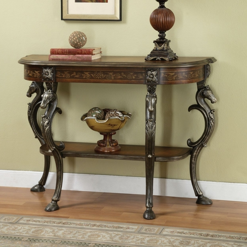 Fantastic Small Entry Table Furniture With Carved Horse Pattern Leg And Single Storage Pictures