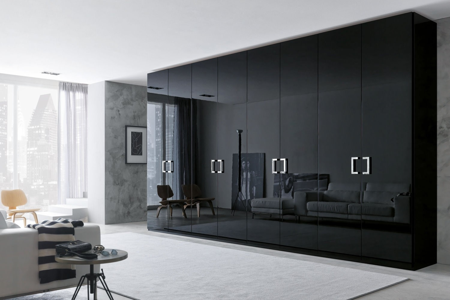 Fascinating Bedroom Closets And Elegant Wardrobes On Bedroom Intended For Black Closet Doors