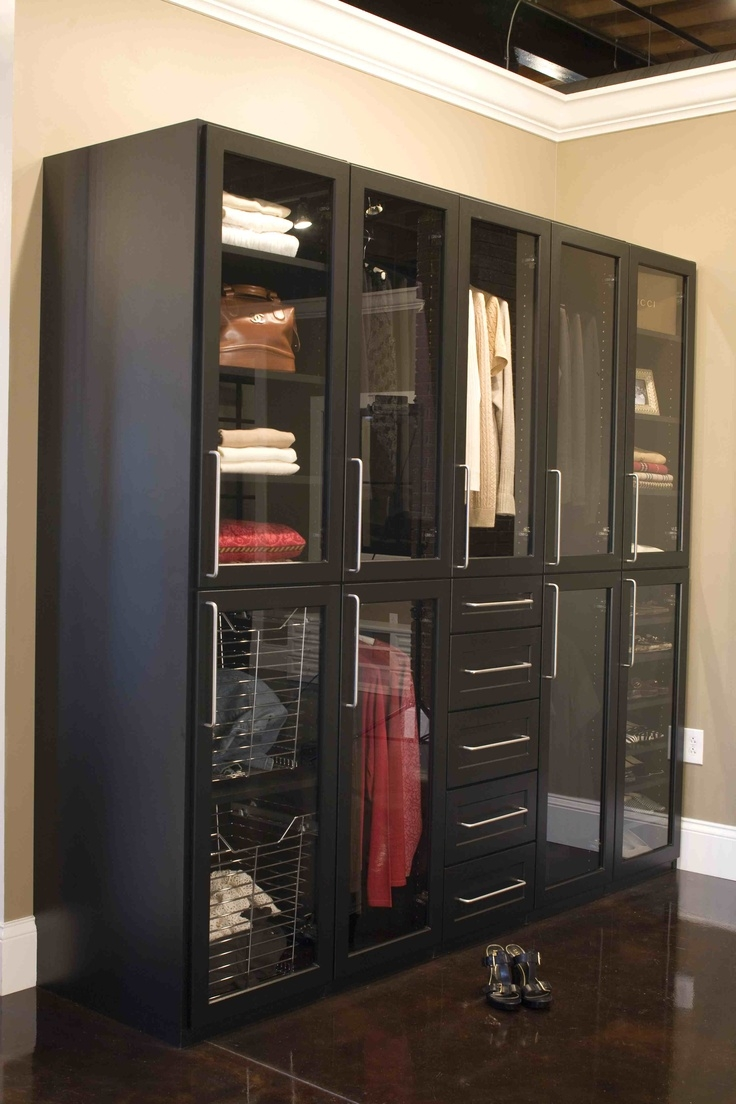 Gorgeous Black Closet With Glass Doors Closet Accessories Intended For Black Closet Doors