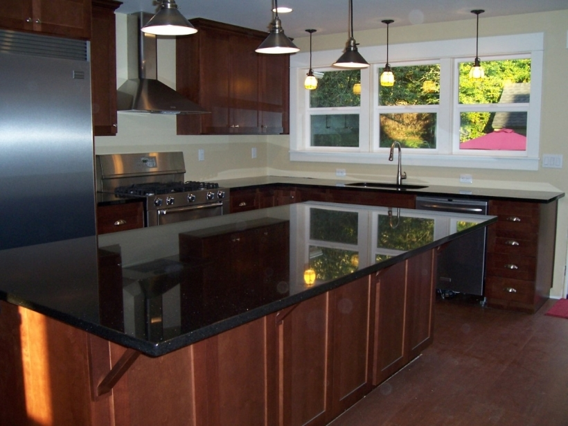 Incredible Black Quartz Countertops Contemporary Kitchen Interior Images