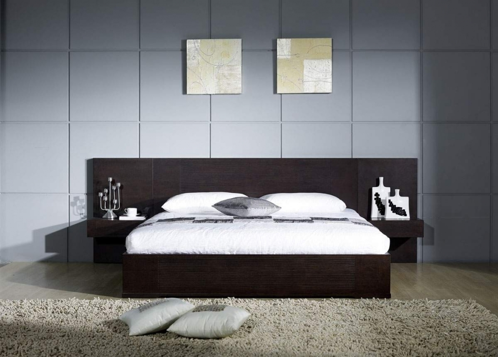 Incredible Wood Headboard Designs With Dark Wooden Headboard And Wall Picture Frame Also Sweet Cream Rugs Pictures