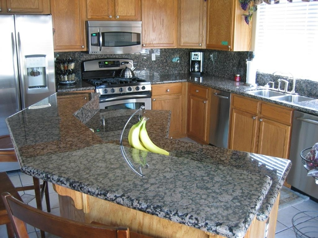 Lovely Blue Pearl Granite Countertop Baltic Brown Backsplash And Double Undermount Stainless Steel Sink Pic