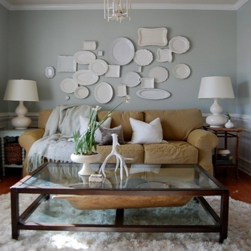 Outstanding Grey Color Paints Living Room Decoration With Brown Sofas Images
