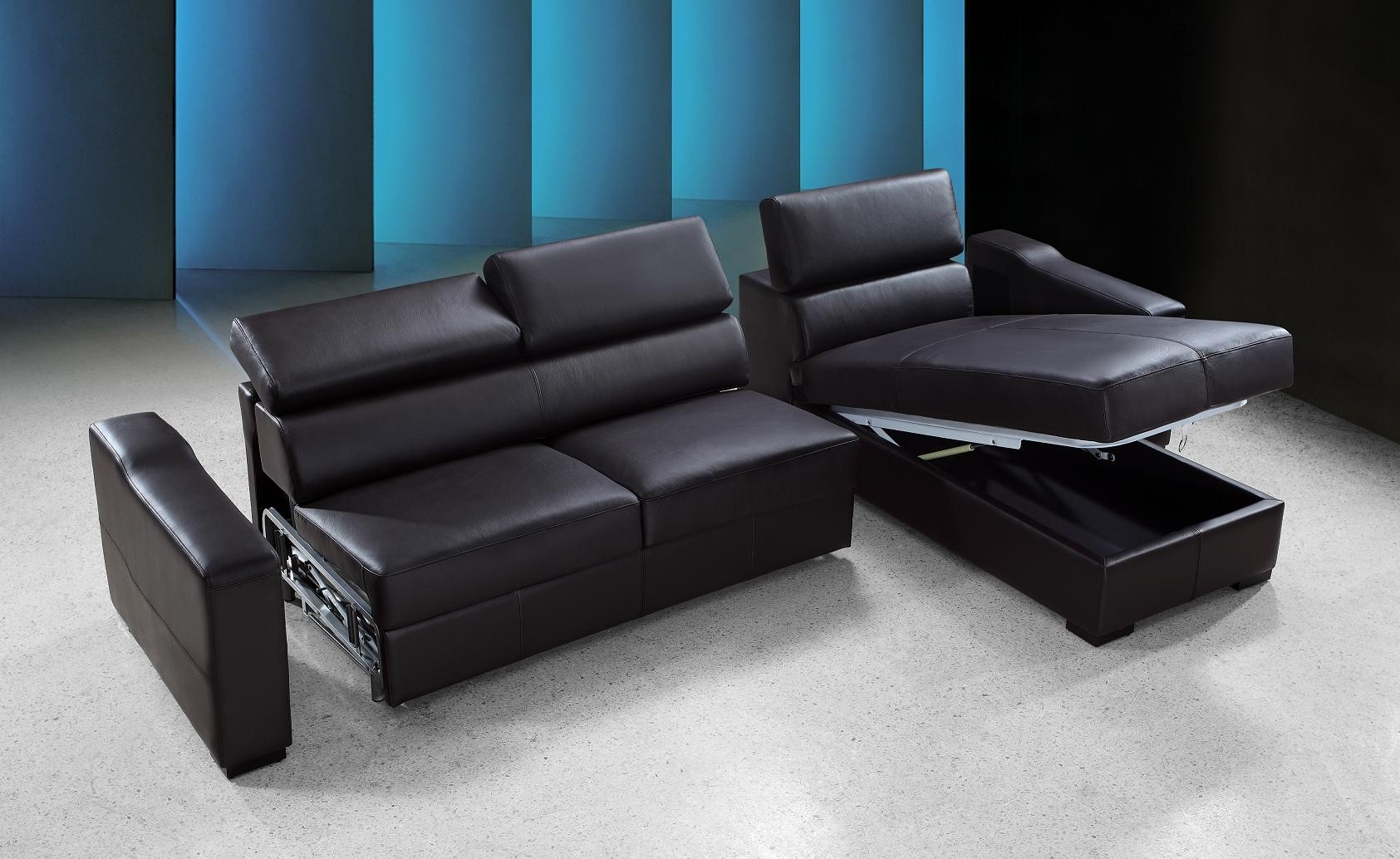 Stylish Sofa Sleeper With Storage Within Black Color Formal Design Ideas