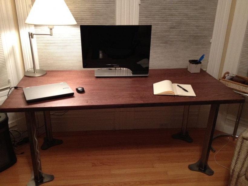 Wonderful Large Work Table Metal And Wood Table Photos