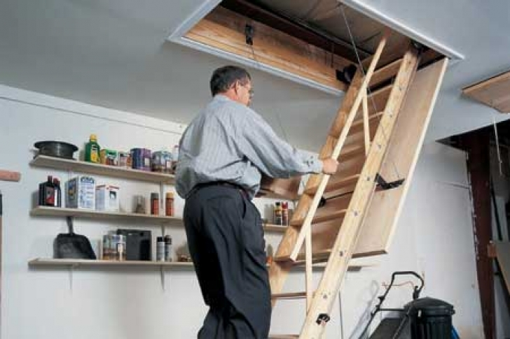 amazing attic stairs pull down pole inside how to install