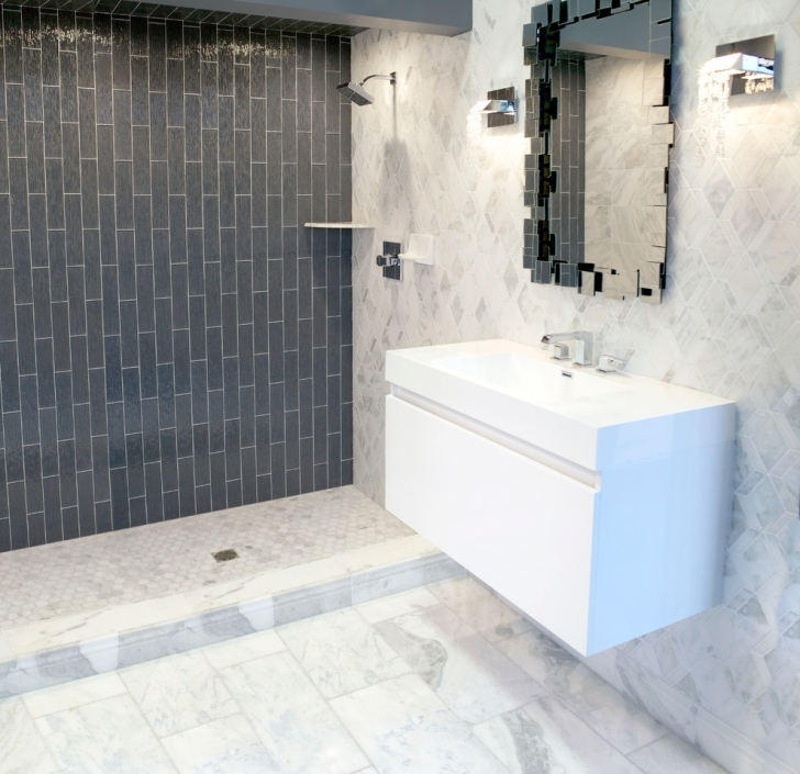 Brilliant Small Bathroom Remodeling Subway Tile Within Traditional Charcoal Rain Glass Contemporary Bathroom Picture
