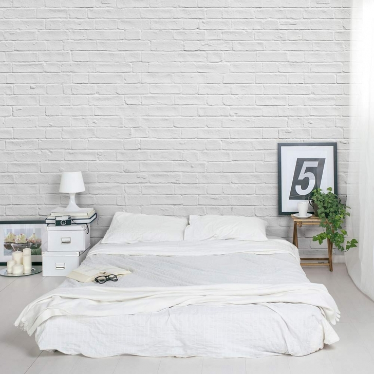 Wonderful white brick wallpaper bedroom with earth tones for Bedroom designs hd
