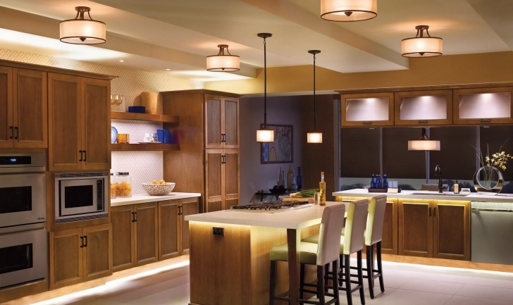 Cozy Floating Kitchen Island With Seating With Wooden Kitchen Cabinet White Countertop And Classic Drum Pendant Lamp Image