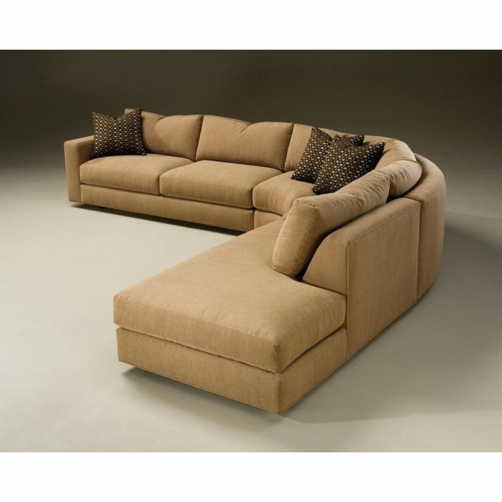 Curved Sectional Sofa Living Room With Attractive Brown Microfiber For Minimalist Design Images