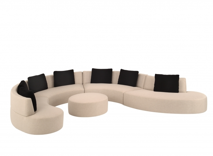 Curved Sectional Sofa Slipcovers Living Room Inside Outstanding Contemporary White Tone Chaise Couch Mixed Black Cushions And Modular Sofas Pics