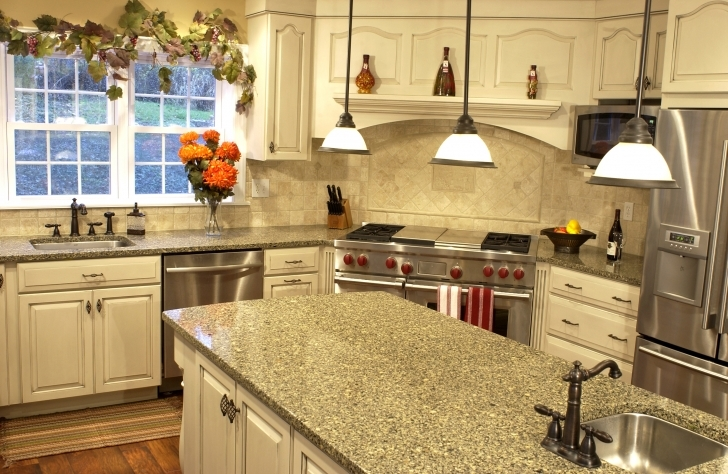 Custom Kitchen Cabinets With Great Two Eggs Mini Hanging Lamps Over Grey Granite Countertop Island Image