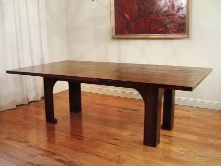 Dark Wood Kitchen Table Regarding Dark Brown Rectangle Mahogany With Four Legs On Laminate Wooden Floor Images