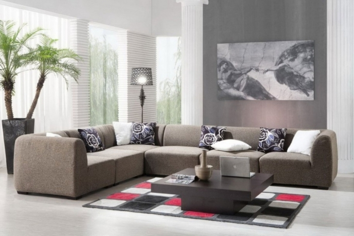 Fascinating Gray Paint Colors For Living Room In Curtains Window Red, White Black Rugs And Modern Grey Sofa Sectional Image