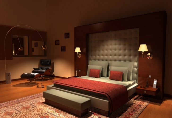 Fascinating Small Master Bedroom Decorating Ideas Regarding Red And Brown Colors Cheme Image