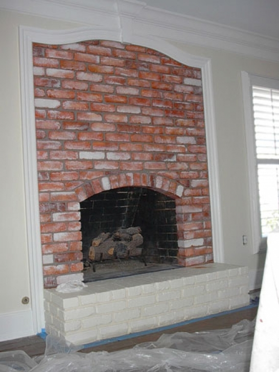 Faux Painting Brick Fireplaces Red Paint Photo