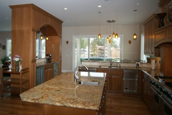Golden Crystal Granite Countertops Kitchen Design 2664
