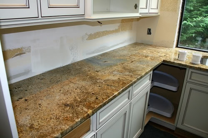 Golden Crystal Granite Countertops Paint Kitchen Cabinets 9805