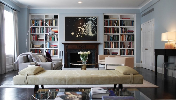 Great Built In Bookshelves Around Fireplace In Large Living Room Ideas Images