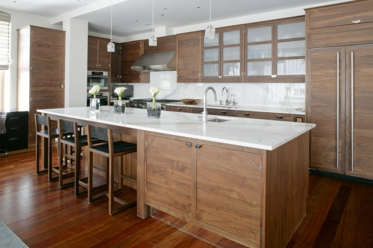 Great Floating Kitchen Island With Seating Inside Wooden Floor White Granite Countertop Wooden Cabinet Kitchen Pictures