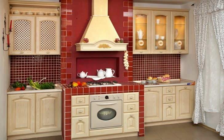Kitchen Pantry Cabinet Ideas Regarding White Wooden Kitchen Pantry Cabinet And Red Wall Mantel Pics