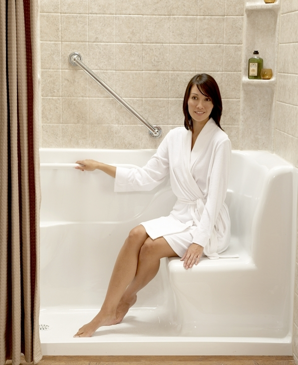 Walk In Tubs And Showers Regarding Stylish Bathroom Decor And Representing With Beautiful Girl Image