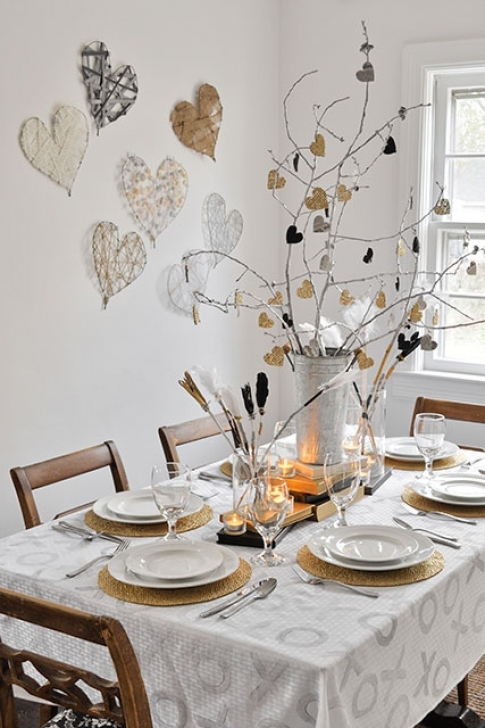 Wall Art Matters Most In Interior Design In Classy Modern Wintery Valentine's Day Tablescape Photo