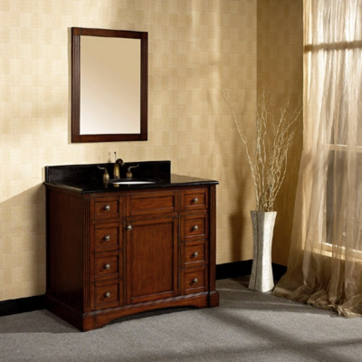 42 Inch Bathroom Vanity Cabinet Wooden Design And Mirror 685