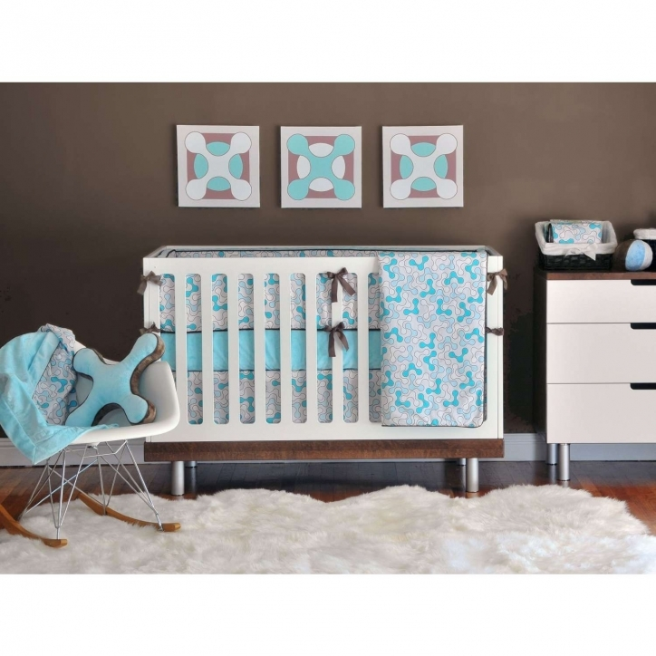 Baby Bedding For Boys Delightful White Wooden Crib With Gray Blue Bedding Set