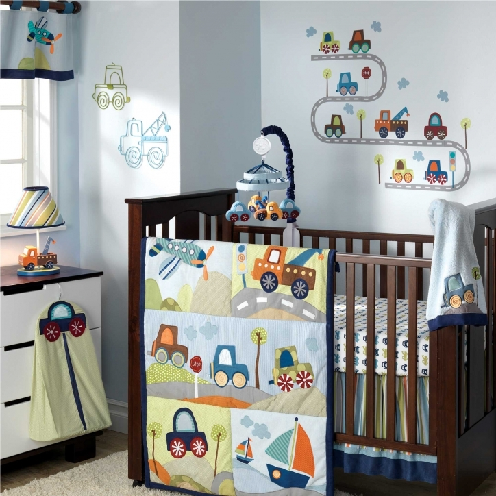 Baby Bedding For Boys Marvelous Brown Wooden Baby Boy Crib With Colorful Vehicle Themes