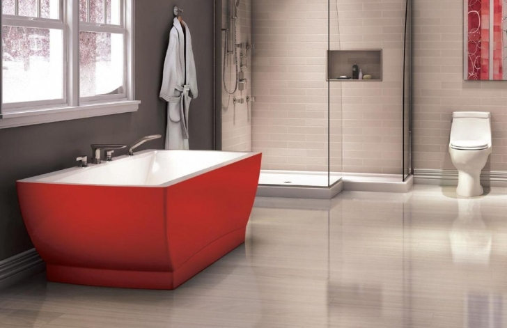 Bathroom Flooring Ideas Vinyl|Vinyl Bathroom Flooring Ideas} Within Inspiring Red Bathtub Design 393